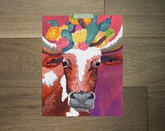 Longhorn art print - 8 x 10 - pink and purple - bold cacti - boho art - southwest artwork - animal and flowers - texas art