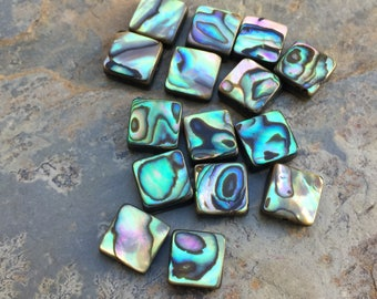 Square Abalone Beads, Natural Abalone Beads, 8mm, 15 beads per package