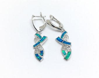 Fabolous Sterling Silver 925, Blue Fire Opal Earrings