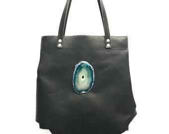 Black Leather Tote, Black Leather Handbag