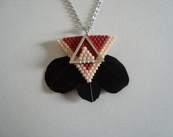 Necklace feather + miyuki