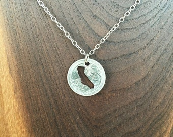 State Quarter Necklace - Hand Cut Coin Necklace