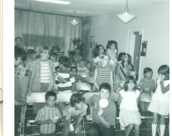 1973 Kids At School Boy Eating Lollipop Folding Chair Assembly 70s Vintage Photograph Photo
