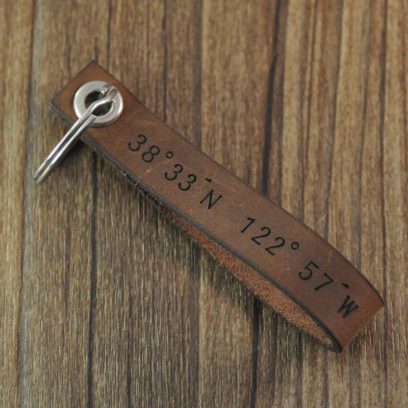 personalized coordinates keychain,custom leather keychain,personalized Leather Key ring,Valentine gift for him husband boyfriend