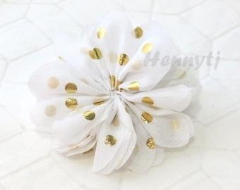 """Ballerina Daisy: 2 pcs SNoW WHITE 2.5"""" inch GOLD Foil Polka Dots Silk Chiffon Ruffled Tutu Fabric Flower, DIY Hair Supplies Accessories"""