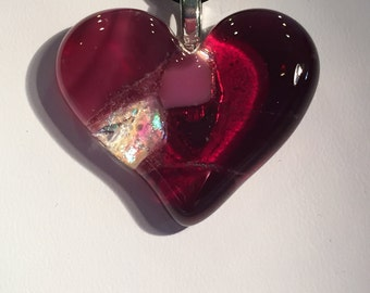 Fused Glass Heart Pendant/Necklace
