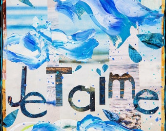 NEW! GLASSED, Je T'aime, 4x4 and Up, Hand Painted, Hand Glassed artwork, wood panel, travel, water, hand painted, collage, ocean, waves, sea