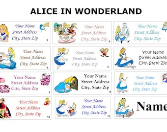 CUTE  Alice In Wonderland Return Address, Party & Name Sticker Labels