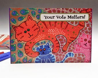 Postcards for Voters - Set of 60 - Voter Postcards - Get out the Vote - Cat Image - 60 count - Political postcard - Original Cat Artwork