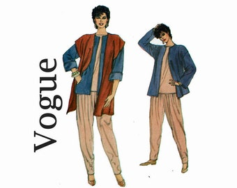 Very Easy Pants jacket Top Vest Sizes 12 14 16 Bust 34 36 38 Uncut 80s Sewing Pattern 1980s Very Easy Very Vogue 8402