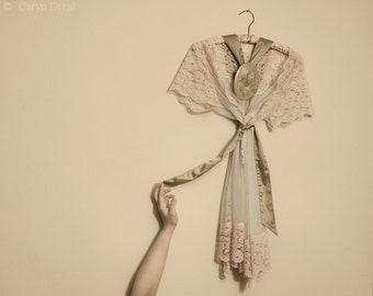 Hanging Up My Femininity - FREE SHIPPING Fine Art Photography Print Cream Lace Dress Girly Warm Surreal Image Vintage Wall Decor Poster Cute