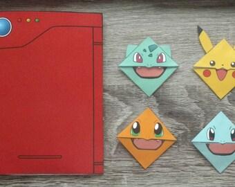 Instant Download Pokemon Starters Bookmark Set - Pikachu - Bulbasaur - Charmander - Squirtle - Kanto Starters - Kanto Pokedex - Pokemon Go