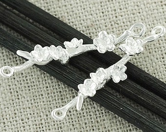 2 of 925 Sterling Silver  Flower Branch  Links, Connectors 5x28mm. :th2080