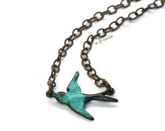 Teal Swallow Necklace - Brass Sparrow Necklace - Teal Verdigris Sideways Bird Necklace - Bohemian