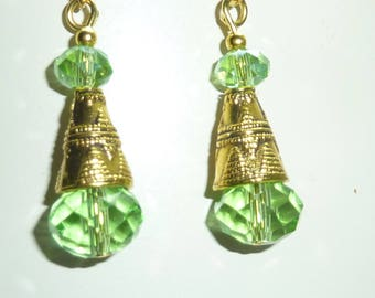"golden earrings ""green"" Swarovski Crystal"