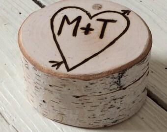 Bague de mariage boîte bouleau - Rusic mariage - bague porteurs boîte Chic rustique et élégant - Woodland-