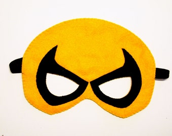 Iron Fist superhero felt mask - Yellow Black - kids costume - for adult boy soft Dress up play accessory Birthday party favor - photo prop