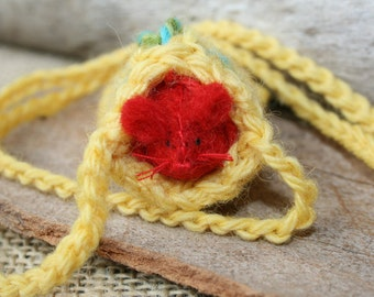 RED MOUSE in a YELLOW Pouch  EcoFriendlyReadyToShip