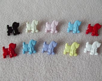 POODLE BUTTONS ~ 10 x Multi-Coloured Poodle Shaped Buttons ~ 18mm x 20mm