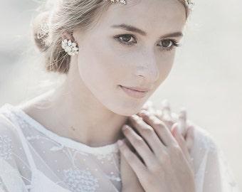 Wedding Headpiece , Gold Bridal Headband , Bohemian Wedding Headband , Ivory Pearl Headband , Grecian Headpiece, Bohemian Headpiece