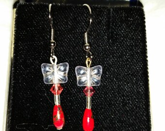 Handmade Butterfly earrings with Swarovski Crystals and Asian Style Beads