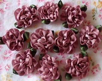 10 Handmade Ribbon Flowers With Leaves (1 inch) In Rose Mauve  MY-029 - 27 Ready To Ship