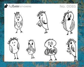 Meditation Birdies - 0085 Planner stickers, bujo stickers, bullet journal, meditation, gratitude, mindfulness, birds, Happy Planner