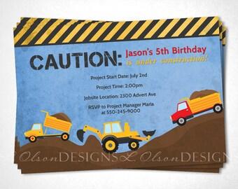 Caution Construction Trucks Birthday Invitation - Blue - DIY Printable
