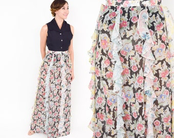 70s Ruffle Floral Print Maxi Skirt | Shear Flowered Long Skirt | Sequel I |  Small