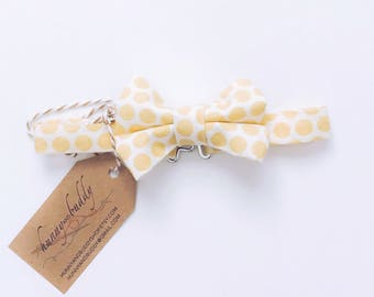 Baby Bow Tie / Boy Bow Tie / Toddler Bow Tie / Infant Bow Tie / Yellow Bow Tie / Polka Dots / Baby Shower Gift / Ring Bearer Bow Tie