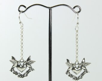A Pair Of Sterling Silver Love Heart Turtle Doves Animal Shepherd Hook Earrings