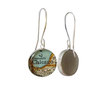 Map Earrings  Sterling Silver  Hand Forged Long Earwires Made to Order You Choose the City