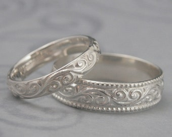 Flourish Wide Wedding Band Set--Sterling Silver Swirl Patterned His and Hers Wedding Rings--Custom made in YOUR size