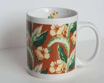 Retro Gold Green Hibiscus Flower Coffee Tea Mug Hawaii Vintage