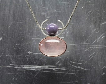 Deer Goddess Necklace Rose Quartz Purple Agate 14K Rose Gold Silver Pendant Feminine Pink Oval Cabochon Unique Abstract Antler - Rehgöttin