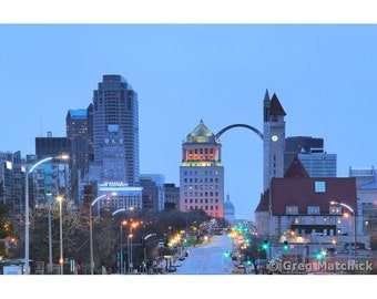"""Fine Art Color Photography of Downtown St Louis - """"Blue Morning in St Louis"""""""