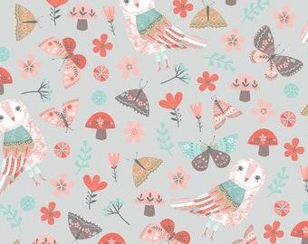 Forest Owl by Designer Rebecca Jones for Clothworks, Owl on Grey, yard