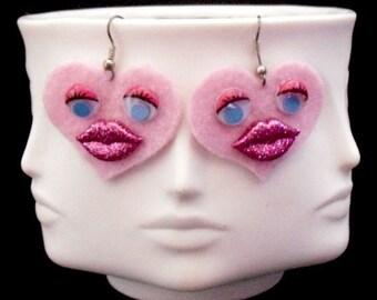 Pink Sweet Heart Funky Felt Flower Earrings