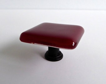 Decorative Deep Red Fused Glass Cabinet Door Knob by BPRDesigns