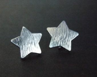 Star Earrings, Silver Earrings, Dainty Jewelry, Star Stud Earrings, Star Jewelry, Matte Rhodium, White Gold Rhodium Plated, Birthday Gift