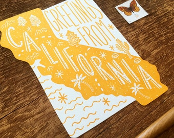 California Postcard, Greetings from California, Die Cut Letterpress State Postcard