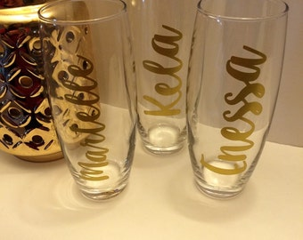 Personalized stemless, champagne, wine glasses