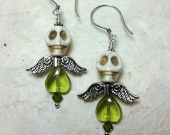 Dia de los Muertos Earrings - White and Green Winged Skull Earrings