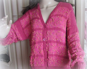 Hand Knitted Cardigan –Jacket – Hot Bubbles