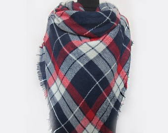 English Style Scarf, Blue Plaid Scarf, Blanket Scarf, Womens Scarves, Blue Stole, Checkered Poncho Wrap, Hippie Clothing, Mom Gift