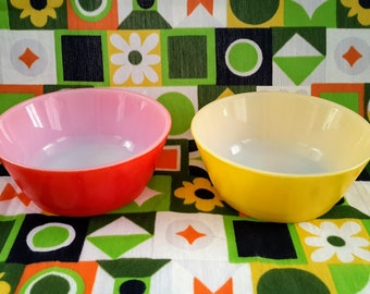 Fire-King, Anchor Hocking, Set of Two (2) Cereal Bowls, Fired-on Colours