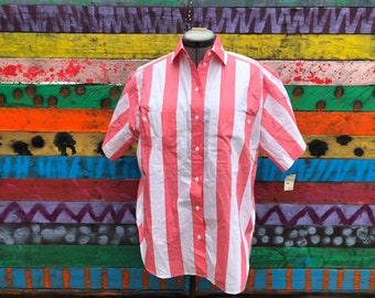 plus size- 80s/90s deadstock candy striper button down shirt
