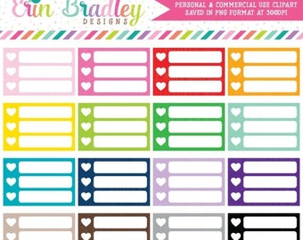 80% OFF SALE Small Heart Checklists Clipart Commercial Use Planner Graphics
