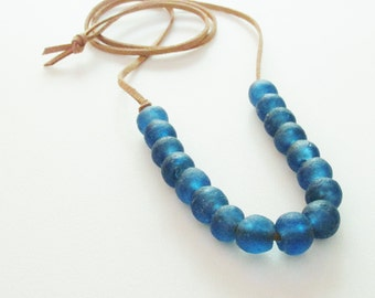 Blue Recycled Glass Necklace / Suede Cord with Recycled Glass Beads / Textured Glass / Tumbled Glass / Sea Glass / Translucent Blue Glass