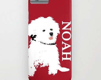 Bichon Frise Dog on Phone Case - iPhone 6S, iPhone 6 Plus, personalised name, Samsung Galaxy S7, Dog Gifts, iPhone 8